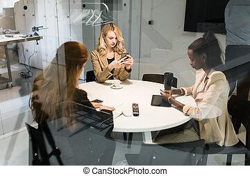 bureau, gens, groupe, business, séance