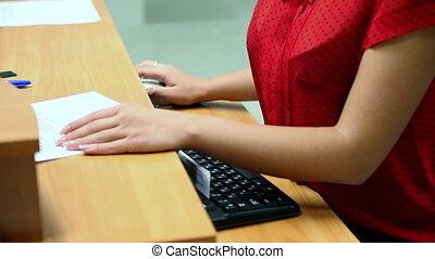 bureau, girl, informatique, fonctionnement