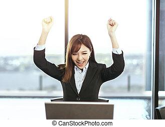 bureau, haut, femme affaires, mains, réussi