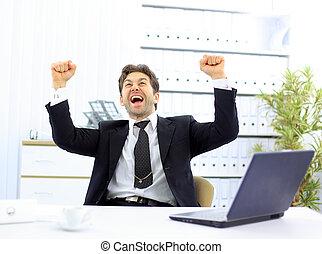 bureau, heureux, homme affaires