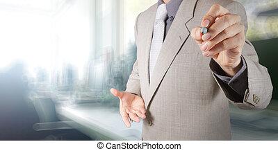 bureau, homme affaires, fonctionnement, fond, sien, concept