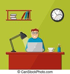 bureau, homme, fonctionnement