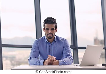 bureau, homme, heureux, business, jeune