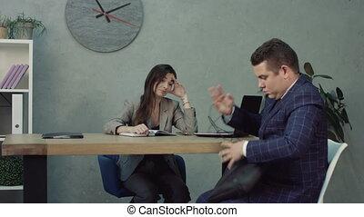 bureau, hr, nerveux, candidat, entretien travail