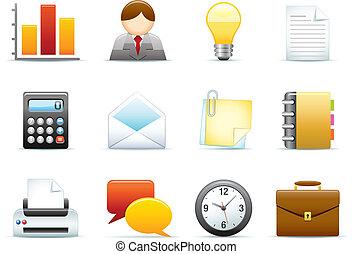 bureau, icône, ensemble, business, /