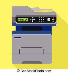 bureau, icône, style, photocopie, plat