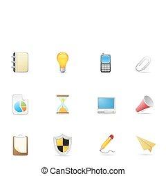 &, bureau, icones affaires