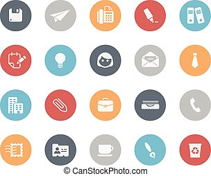 bureau, icones affaires