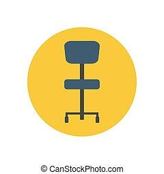 bureau, illustration, chaise