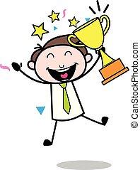 bureau, -, illustration, mois, vecteur, récompense, employé, homme affaires, dessin animé