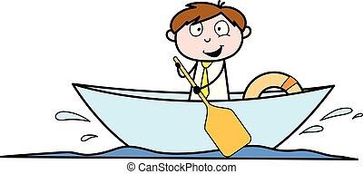 bureau, -, illustration, vecteur, employé, vendeur, dessin animé, bateau, homme