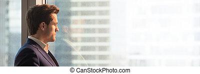 bureau, image, regarder, panoramique, fenêtre, par, complet, homme affaires