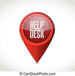 bureau, indicateur, aide, locator