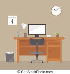bureau, informatique, lieu travail