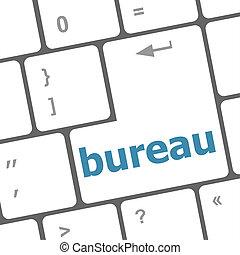 bureau, informatique, mot, clã©, clavier