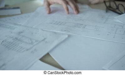 bureau., intérieur, haut, conception, dessins, papiers, fin, réunion