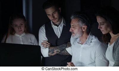 bureau, intérieur, issues., groupe, discuter, informatique,...