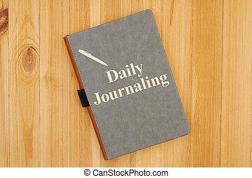 bureau, journaling, écrit, message, quotidiennement, journal