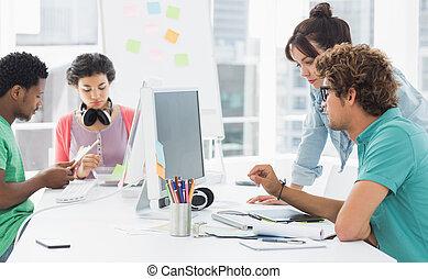 bureau, kunstenaars, aan het werk werkkring, creatief