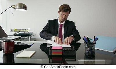 bureau, lancement, ouvrier, papier, 7, blanc, percé, collier, avion