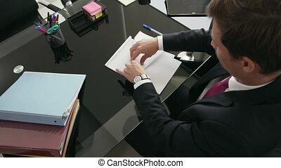 bureau, lancement, ouvrier, papier, 9, blanc, percé, collier, avion