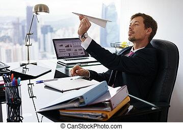 bureau, lancement, ouvrier, papier, blanc, percé, collier,...