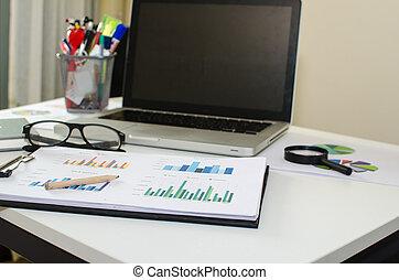 bureau, lieu travail, à, ordinateur portable