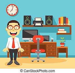 bureau, lieu travail, ouvrier, sien