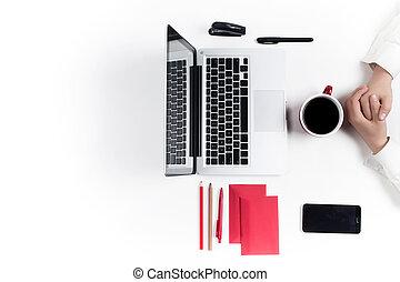 bureau., lieu travail, technology.