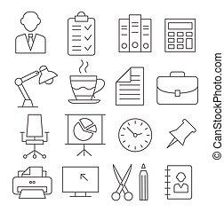 bureau, ligne, icônes