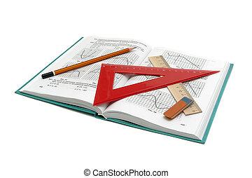 bureau, livre, fond, fournitures, blanc, math