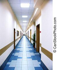 bureau, long, centre, couloir