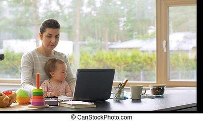bureau, mère, ordinateur portable, fonctionnement maison, ...