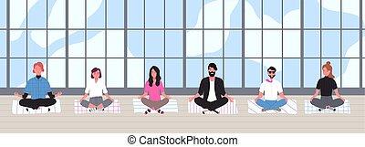 bureau, méditation, activity., asseoir, habillé, ouvriers, arrière-plan., fenêtre, jambes, intelligent, plat, business, panoramique, méditer, dessin animé, bâtiment, illustration., contre, vecteur, traversé, équipe, vêtements