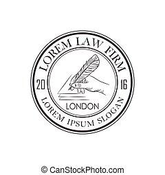 bureau, main, vecteur, logo, plume, droit & loi