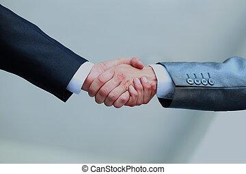 bureau., mains secouer, professionnels