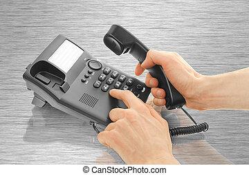 bureau, mains, téléphone