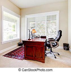bureau maison, à, acajou, bureau, et, letaher, chair.