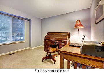 bureau maison, à, bleu, murs, et, bois, funiture.