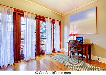 bureau maison, à, grand, porte, windows.
