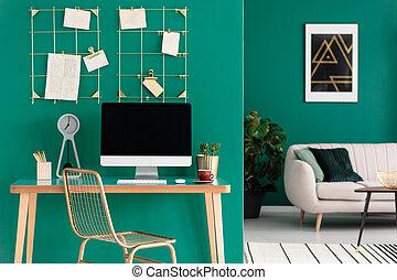 bureau maison, à, informatique