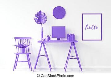 bureau maison, à, pourpre, meubles