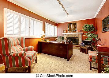 bureau maison, intérieur, à, murs rouges, et, fireplace.