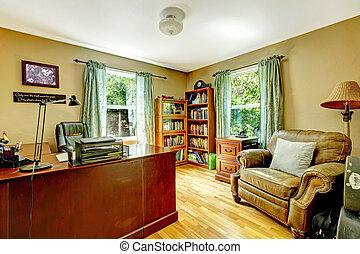 bureau maison, intérieur, à, vert, murs, et, wood.