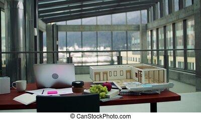 bureau, maison, ordinateur portable, architecte, desk., intérieur, modèle