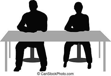bureau, mensen, twee, zakelijk, zittende