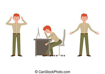 bureau, misérable, épuisé, vecteur, type, vert, debout, déprimé, dessin animé, pantalon, caractère, illustration., triste, séance, unhappily, homme, ensemble