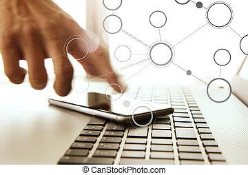 bureau, mobile, ordinateur portable, main, téléphone, homme affaires, utilisation