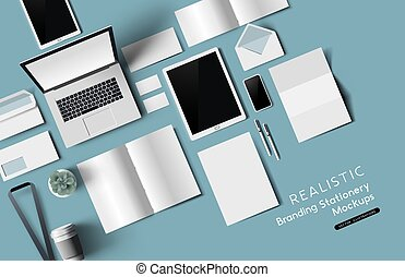bureau, mockup, sommet, objets, papeterie, vue