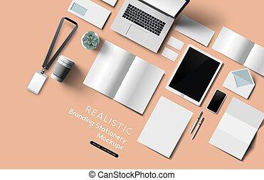 bureau, mockup, sommet, réaliste, objets, papeterie, vue